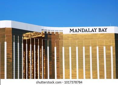 Las Vegas, Nevada / USA - 10/16/2017: View of The Mandalay Bay Hotel on the Vegas Strip.