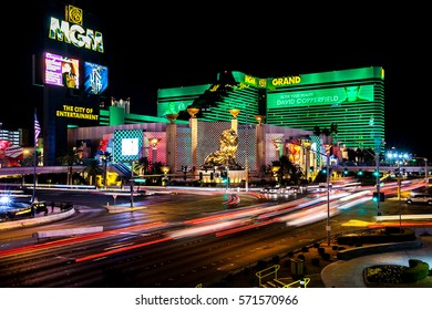 Las Vegas, Nevada, USA 2012.01.11 Car light trails at a bright night on one of the central streets of Vegas