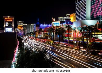 Las Vegas, Nevada, USA 2012.01.11 Busy streets in Las Vegas at night.