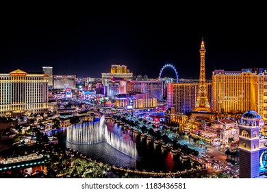 Las Vegas Nevada USA 2018 02 07 a panoramic aerial view of the Las Vegas Strip at night