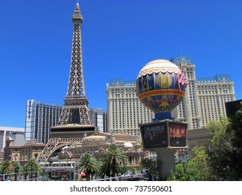 Las Vegas Nevada USA, 21 July 2011: view on Paris Hotel and casino sign and eiffel tower on LV strip