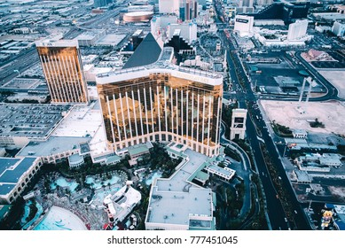 Las Vegas, Nevada / USA 8- 4 -2017 Aerial view of Las Vegas strip in Nevada shot from a helicopter Fall 2017