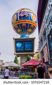 Las Vegas, Nevada, USA, April 10 2018: Cabo Wabo restaurant patio in front of Paris hot air balloon