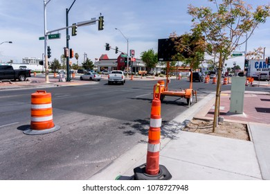 Las Vegas, Nevada, USA, April 10 2018: Construction zone in downtown Las Vegas