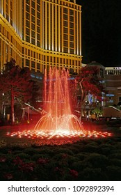 Las Vegas, Nevada, USA - April 5, 2018: Illuminated fountain in front of the Venetian hotel