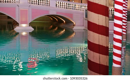 Las Vegas, Nevada, USA, April 5, 2018: gondola poles and bridge at the Venetian hotel