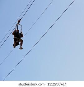 Las Vegas, Nevada, USA - April 8, 2018: Ziplining at Fremont Street