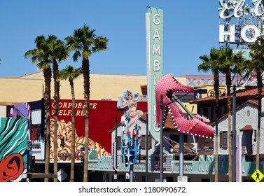 Las Vegas, Nevada/ USA - April 8, 2018: Fremont Street with Hotel Cortez in downtown Las Vegas by day