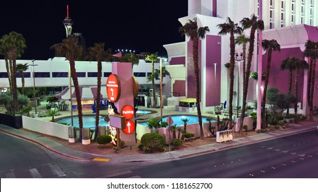 Las Vegas, Nevada, USA - April 8, 2018: HDR image of the pool area of the Circus Circus hotel at night