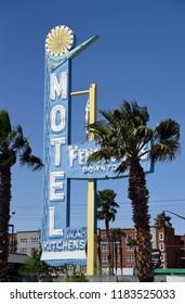 Las Vegas, Nevada, USA - April 8, 2018: Sign for the Fergusons Motel on Fremont Street
