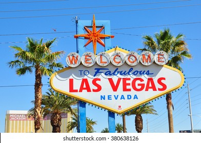 LAS VEGAS NEVADA USA - APRIL 16, 2014 : The Welcome to Fabulous Las Vegas sign is a Las Vegas landmark funded in May 1959 and erected soon after by Western Neon. The sign was designed by Betty Willis.