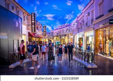 Las Vegas, Nevada, USA - Aug 17, 2019: Shopping strip inside the Caesars Palace casino