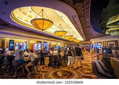 Las Vegas, Nevada, USA - Aug 17, 2019: Caesars Palace casino gaming room