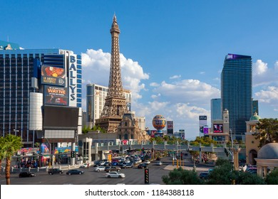 Las Vegas, Nevada, USA - August 5, 2017: A replica of the Eiffel Tower is located on the property of Paris Hotel on Las Vegas Boulevard, also known as the Las Vegas Strip, in Las Vegas, Nevada.