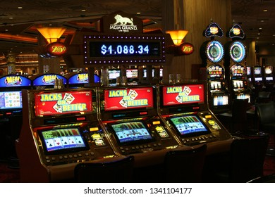 LAS VEGAS (NEVADA), USA - AUGUST 18. 2009: View on slot machines Jacks or Better in a casino