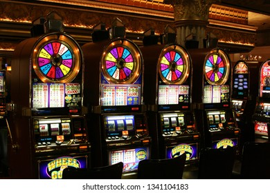 LAS VEGAS (NEVADA), USA - AUGUST 18. 2009: View on slot machines Wheel of Gold in a Casino