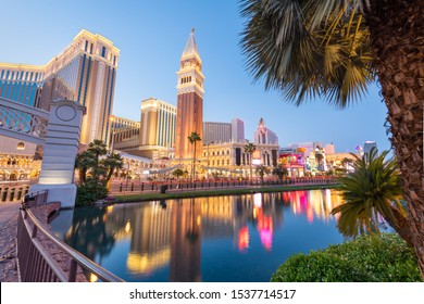 Las Vegas, Nevada, USA cityscape along the strip at twilight.