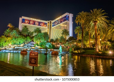 Las Vegas, Nevada, USA - December 29, 2017 : The Mirage hotel at night.  It is a famous polynesian-themed resort and casino resort in Las Vegas.