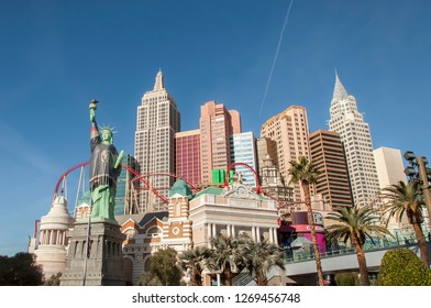 Las Vegas, Nevada, USA - December 23, 2018: Replica Statue of Liberty at New York New York resort and casino, dressed in Las Vegas Golden Knights gear