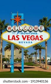 Las Vegas, Nevada, USA - December 20, 2014: The vintage iconic Welcome to Fabulous Las Vegas sign