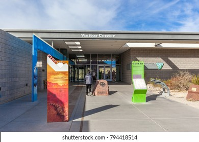 LAS VEGAS, NEVADA, USA - DECEMBER 22, 2017:  Entrance of the Red Rock Canyon Visitor Center in 2017. The Red Rock Canyon National Conservation Area is located just a few miles west of Las Vegas.