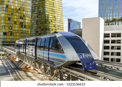 LAS VEGAS, NEVADA, USA - FEBRUARY 2019: The Aria Express, which is a free-to-use monorail train running between the Bellagio, Aria and Park MGM hotels in Las Vegas.