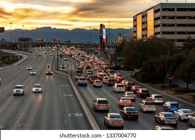 Las Vegas, Nevada  / USA - February 27, 2019: Heavy late afternoon traffic on westbound Tropicana Ave. west the Las Vegas Strip.