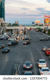Las Vegas, Nevada  / USA - February 27, 2019: Eastward view of traffic on Tropicana Ave. at the intersection of Tropicana Ave and S.Las Vegas Blvd in Las Vegas.