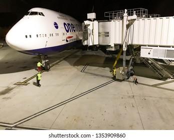 LAS VEGAS, NEVADA, USA - FEBRUARY 2019: British Airways Boeing 747 jumbo jet stopping alongside a passenger jetty after landing at McCarran International Airport in Las Vegas.