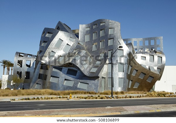 LAS VEGAS, NEVADA, USA - FEBRUARY 4TH, 2014; Facade of the Cleveland Clinic (Lou Ruvo Centre for Brain Health) the modern building designed by Starchitect Frank O Gehry