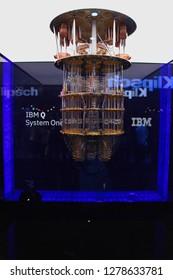 Las Vegas, Nevada / USA - Jan 8 2019:  IBM Quantum computer at CES 2019