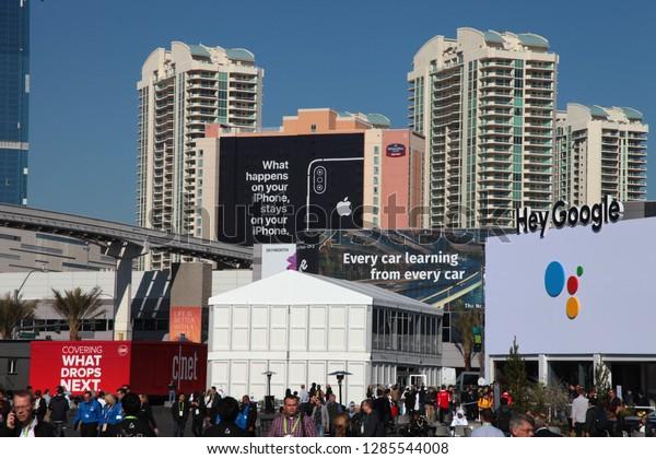 Las Vegas, Nevada / USA - Jan 8 2019:  Apple billboard at CES 2019
