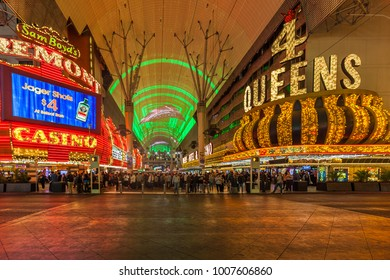 LAS VEGAS, NEVADA, USA - JANUARY 1ST, 2018: Night view of Fremont Street Experience in Las Vegas, Sprawling 24-hour mall featuring a huge LED canopy, casino & restaurant access & free entertainment.