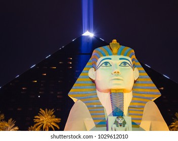 Las Vegas, Nevada / USA - January 21, 2017: The light beam in the Luxor Hotel is the brightest in North America, acording to NASA.
