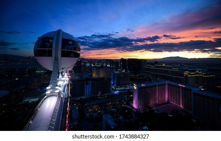 LAS VEGAS, NEVADA, USA - JANUARY 2, 2020: Aerial panoramic view of Las Vegas Strip from High Roller. Las Vegas known for gambling, shopping, fine dining, entertainment, nightlife.