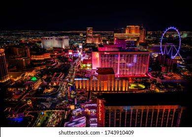 LAS VEGAS, NEVADA, USA - JANUARY 2, 2020: Aerial panoramic view of Las Vegas Strip, High Roller. Las Vegas known for gambling, shopping, fine dining, entertainment, nightlife.
