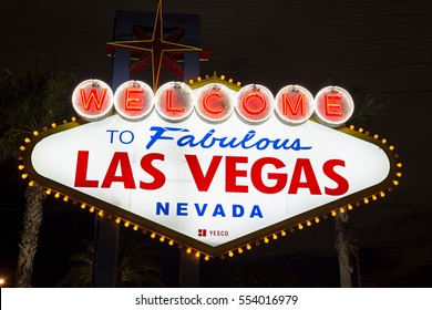 Las Vegas, Nevada, USA - January 04, 2017: Welcome to Fabulous Las Vegas sign at night. It was funded in May 1959. The sign was designed by Betty Willis at the request of Ted Rogich, a local salesman.