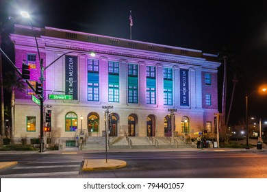LAS VEGAS, NEVADA, USA - JANUARY 1ST, 2018: Night view of The Mob Museum, officially the National Museum of Organized Crime and Law Enforcement, is a history museum located in Downtown Las Vegas, Neva
