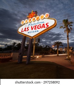 Las Vegas, Nevada USA -  July 2014. Iconic Las Vegas welcome sign, located on The Las Vegas Strip in Las Vegas, Nevada