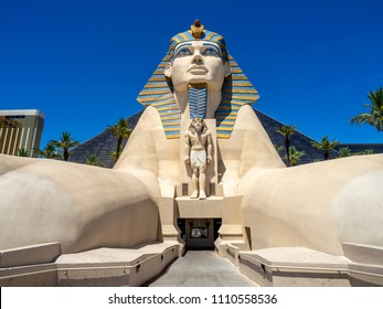 Las Vegas, Nevada / USA - June 9, 2018: Statue of the Sphinx outside the famous Luxor Hotel on Las Vegas Strip. The Luxor is an amazing pyramid hotel, which hosts the Chris Angel show.