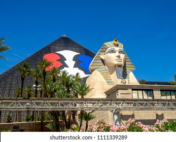 Las Vegas, Nevada / USA - June 9, 2018: Statue of the Sphinx outside teh famous Luxor Hotel on Las Vegas Strip. The Luxor is an amazing pyramid hotel, which hosts the Chris Angel show.