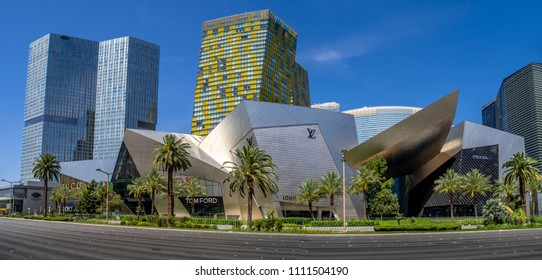 Las Vegas, Nevada / USA - June 9, 2018:  Exterior of The Shops at Crystals located at CityCenter in Las Vegas. It is a new and premium retail and dining experience.