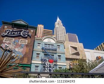 Las Vegas, Nevada / USA - June 9, 2018: New York New York hotel casino in Las Vegas. It recreates the impressive New York City skyline with skyscraper towers and Statue of Liberty.