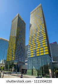 Las Vegas, Nevada / USA - June 9, 2018: The Veer Towers at CityCenter in Las Vegas. They are twin 37-story condominium towers  leaning in opposite directions, 4.6 degrees from the center.