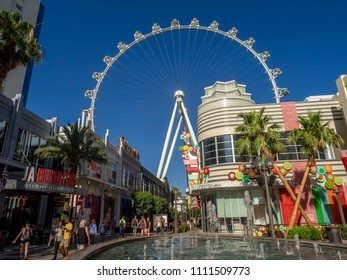 Las Vegas, Nevada / USA - June 8, 2018: Tourists visting the LInq promenade in Las Vegas as seen on a sunny day.