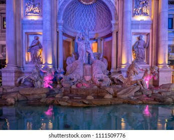Las Vegas, Nevada / USA - June 7, 2018: The Trevi Fountain replica at the famous Caesars Palace Hotel and Casino at night.