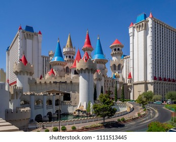 Las Vegas, Nevada / USA - June 9, 2018: Wide angle view of the interesting and historic Excalibur Hotel and Casino, a castle and medieval themed hotel.