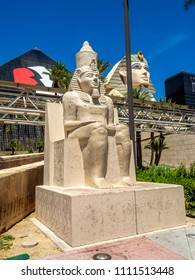 Las Vegas, Nevada / USA - June 9, 2018: Statues  outside the famous Luxor Hotel on Las Vegas Strip. The Luxor is an amazing pyramid hotel, which hosts the Chris Angel show.