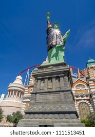Las Vegas, Nevada / USA - June 9, 2018: Statue of Liberty at New York New York dressed in Las Vegas Golden Knights gear during the Stanley Cup finals.  The Golden Knights are a popular hockey team.