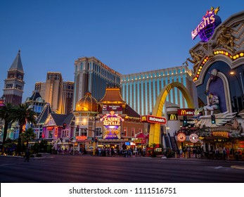 Las Vegas, Nevada / USA - June 7, 2018:  Casino Royale and Venetian Resort Hotel Casino, South Las Vegas Boulevard at night